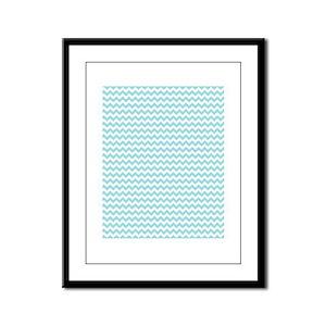 Blue Chevron Framed Panel Print