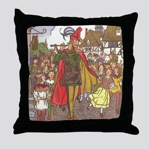 Vintage Pied Piper Fairy Tale  Throw Pillow