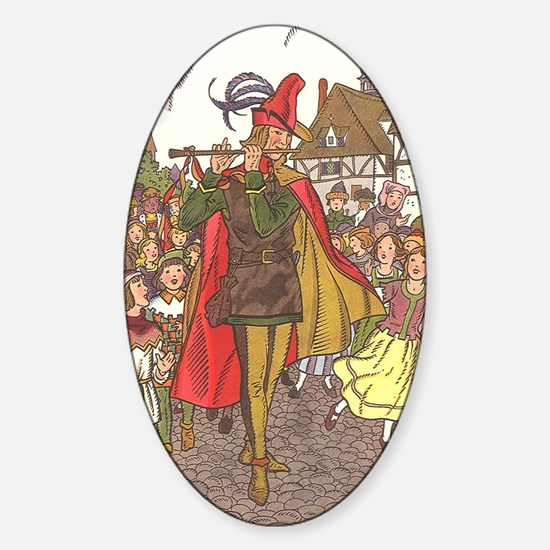 Vintage Pied Piper Fairy Tale  Sticker (Oval)