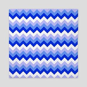 Blue and White Chevron Pattern Queen Duvet