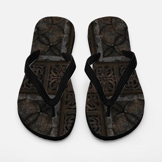 Ancient Cross Pattern Flip Flops