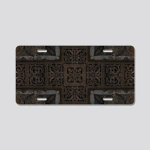 Ancient Cross Pattern Aluminum License Plate