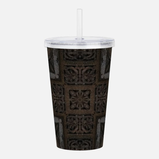 Ancient Cross Pattern Acrylic Double-wall Tumbler