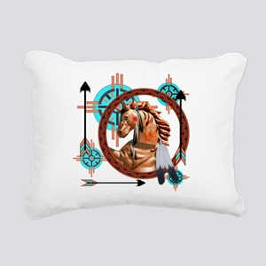 Painted Horse Design Rectangular Canvas Pillow