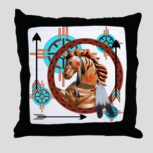 Painted Horse Design Throw Pillow