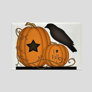 Primitive Pumpkin Crow I Love Fal Rectangle Magnet