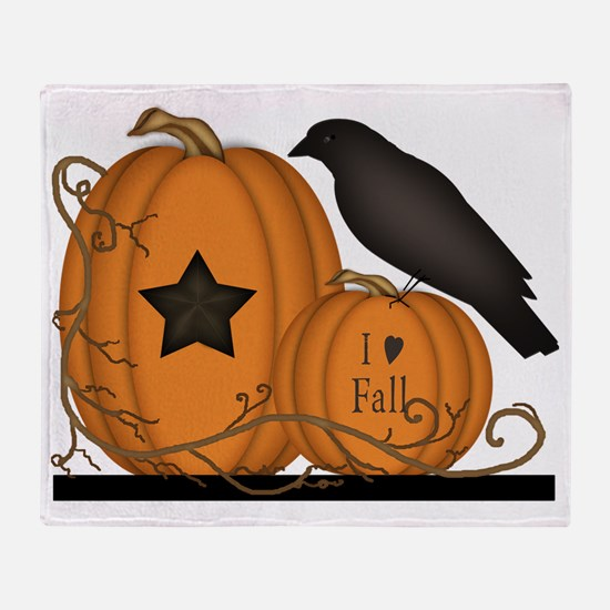 Primitive Pumpkin Crow I Love Fall  Throw Blanket