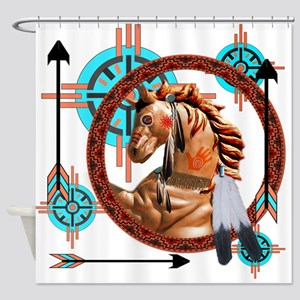Painted Horse Design Shower Curtain