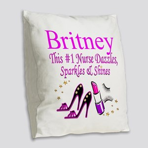BEST NURSE Burlap Throw Pillow