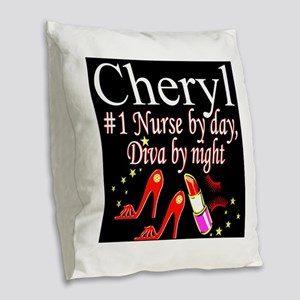 CHIC NURSE Burlap Throw Pillow