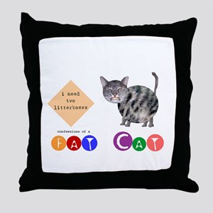 Confessions of a Fat Cat Throw Pillow