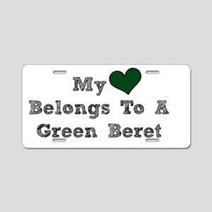 My Heart Belongs To A Green Beret Aluminum License