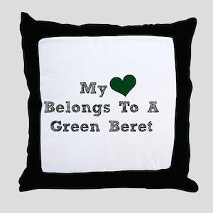My Heart Belongs To A Green Beret Throw Pillow