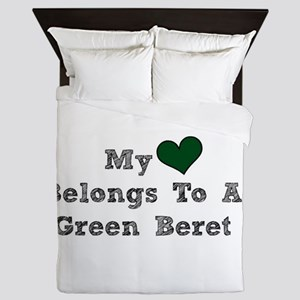 My Heart Belongs To A Green Beret Queen Duvet