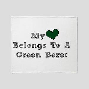 My Heart Belongs To A Green Beret Throw Blanket