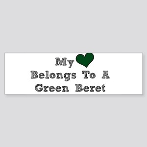 My Heart Belongs To A Green Beret Bumper Sticker