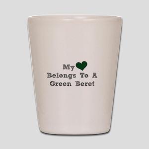 My Heart Belongs To A Green Beret Shot Glass