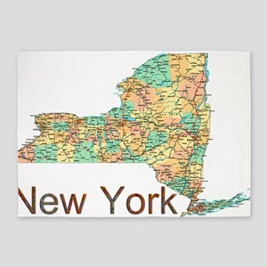 Map of New York State 2 5'x7'Area Rug
