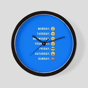 Emoji Days of the Week Wall Clock