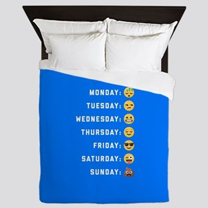Emoji Days of the Week Queen Duvet