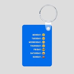 Emoji Days of the Week Aluminum Photo Keychain