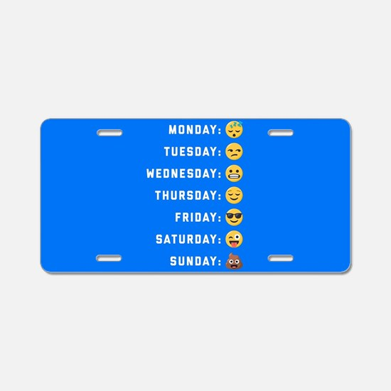 Emoji Days of the Week Aluminum License Plate