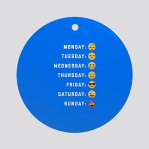 Emoji Days of the Week Round Ornament