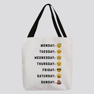 Emoji Days of the Week Polyester Tote Bag