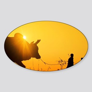 Silhouette of two (2) young boys with a bu Sticker