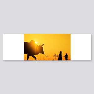 Silhouette of two (2) young boys wi Bumper Sticker