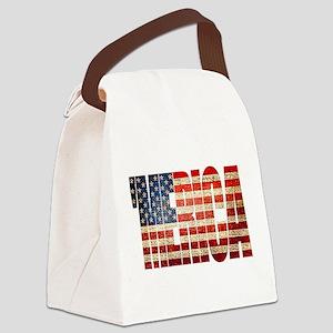 Vintage Grunge MERICA U.S. Flag Canvas Lunch Bag