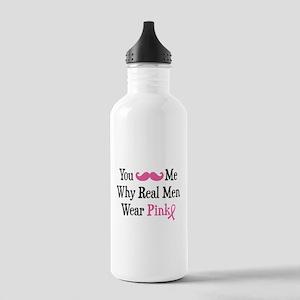Mustache Wear Pink Stainless Water Bottle 1.0L