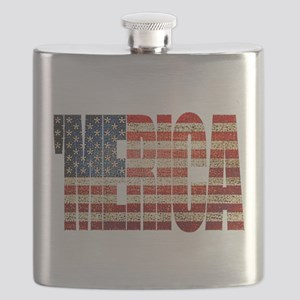 Vintage Grunge MERICA U.S. Flag Flask