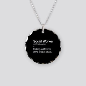 Social Worker Definition Necklace Circle Charm
