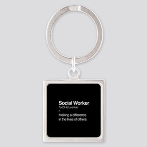Social Worker Definition Square Keychain
