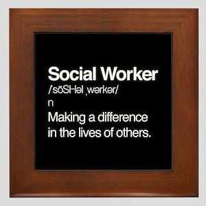 Social Worker Definition Framed Tile