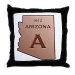 Copper Arizona 1912 State Outline Throw Pillow