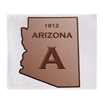 Copper Arizona 1912 State Outline Throw Blanket