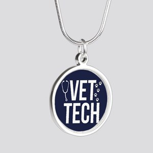 Vet Tech Silver Round Necklace