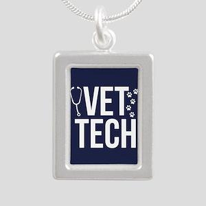 Vet Tech Silver Portrait Necklace