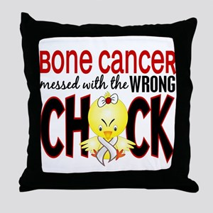 Bone Cancer Messed With Wrong Chick Throw Pillow