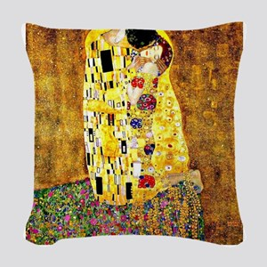 Klimt - The Kiss Woven Throw Pillow