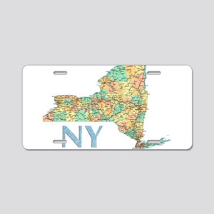 Map of New York State 7 Aluminum License Plate