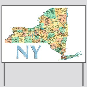 Map of New York State 7 Yard Sign