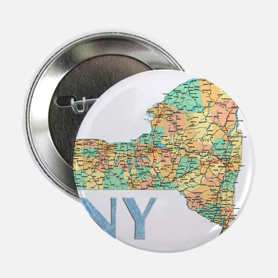 "Map of New York State 7 2.25"" Button (10 pack)"