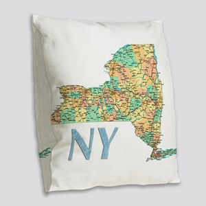 Map of New York State 7 Burlap Throw Pillow