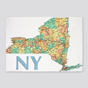 Map of New York State 7 5'x7'Area Rug
