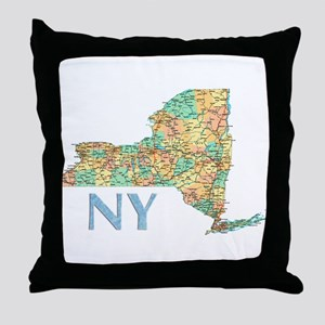 Map of New York State 7 Throw Pillow