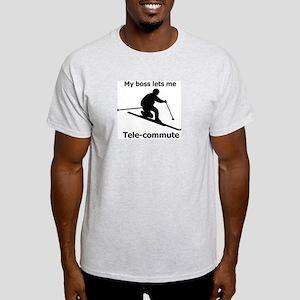 My boss lets me Tele-Commute Ash Grey T-Shirt
