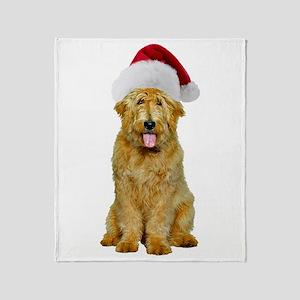 Goldendoodle Santa Throw Blanket
